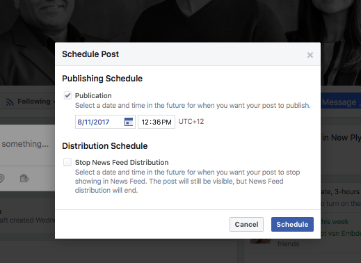 facebook post scheduling