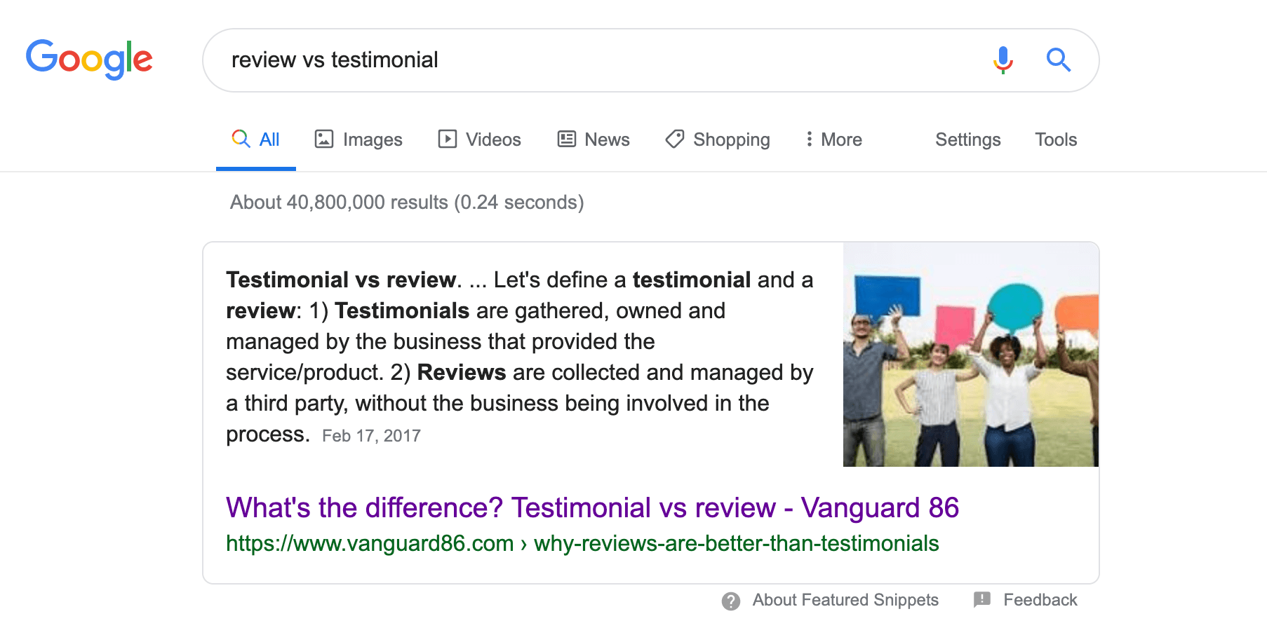 Vanguard 86 featured snippet