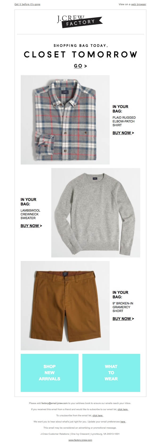 J.Crew Factory in your cart email
