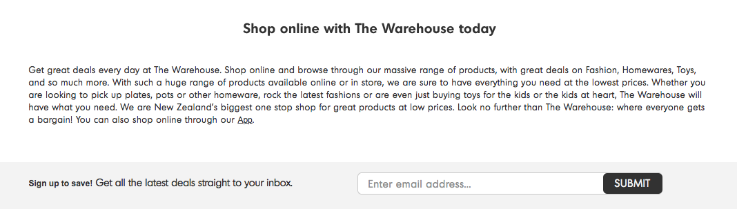 The Warehouse homepage email marketing hacks