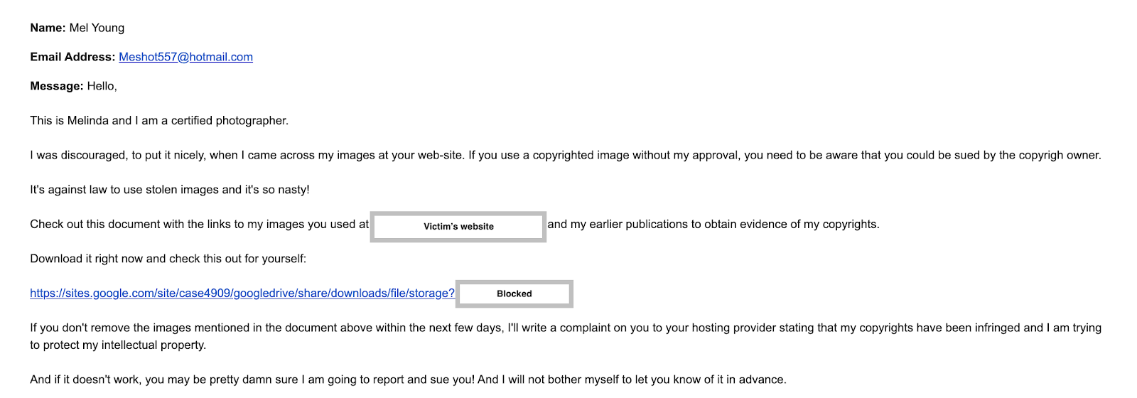 An example of an image licensing scam