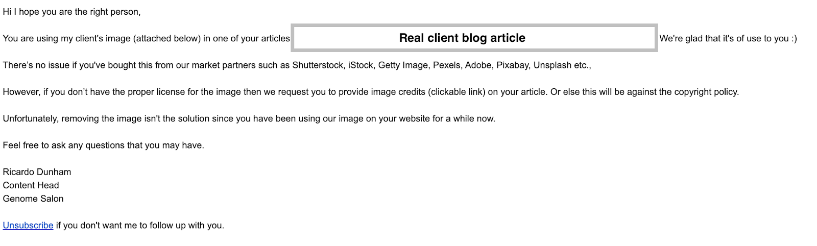 A second example of a real image licensing scam