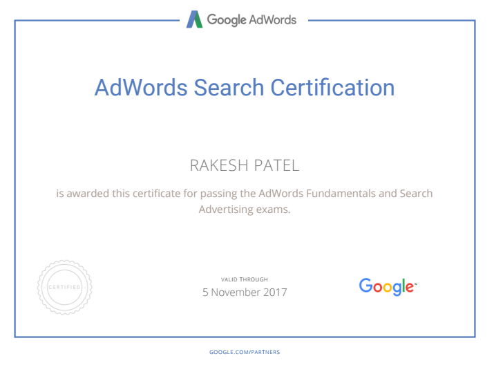 AdWords search certification - Rakesh