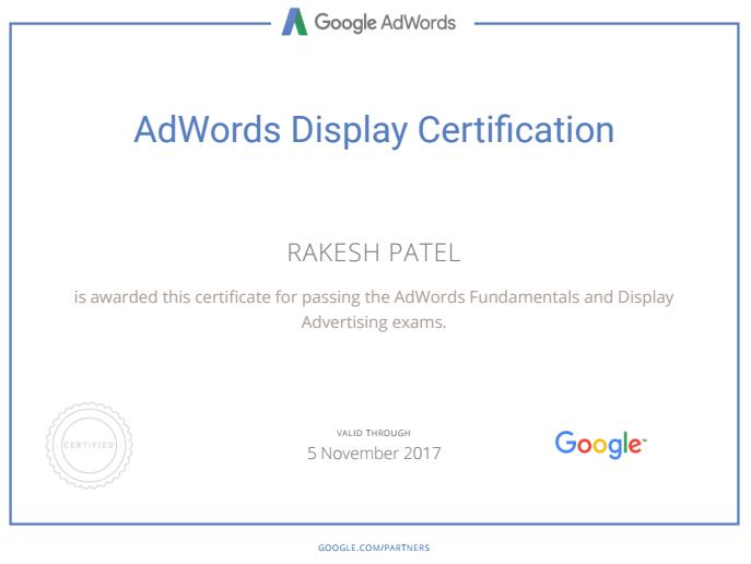 AdWords Display certification - Rakesh