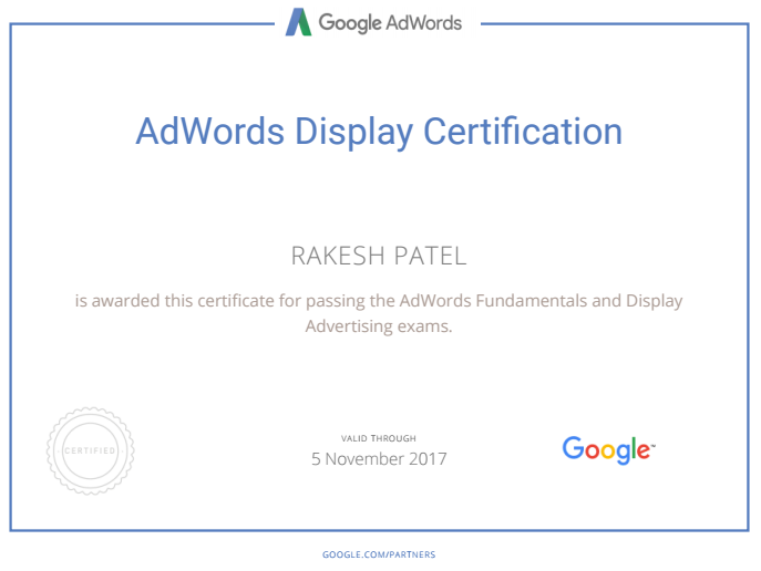 AdWords Display certification - Rakesh