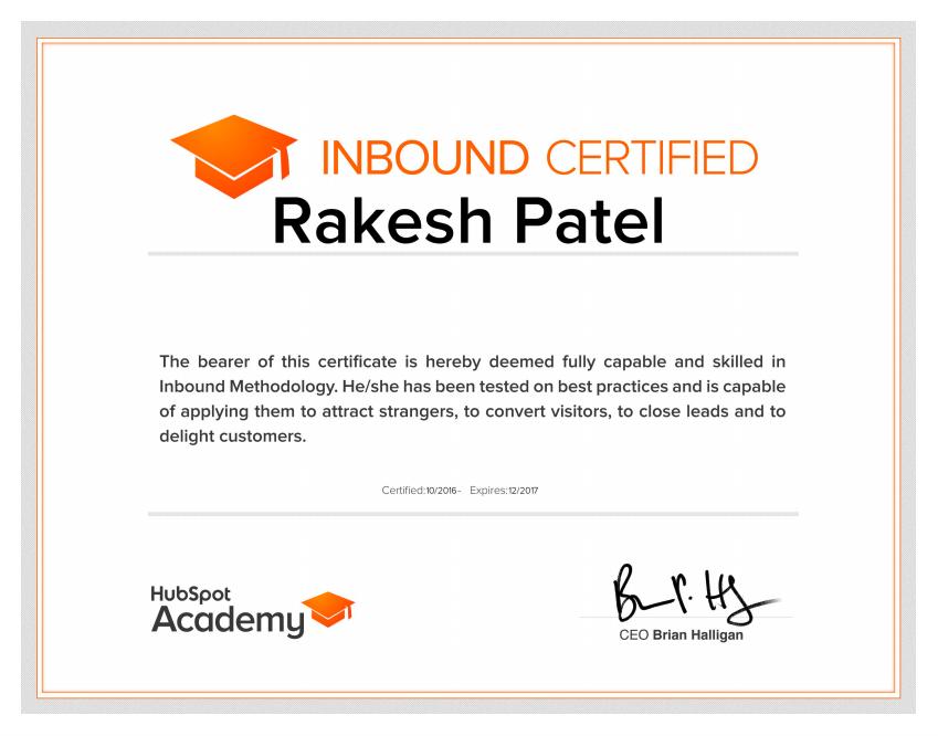 Inbound marketing certified - Rakesh