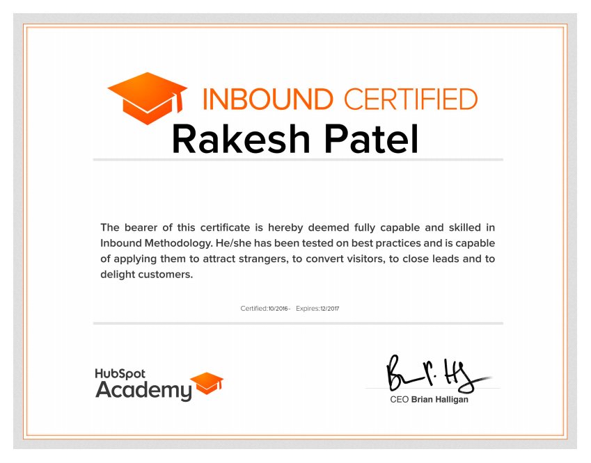 Inbound marketing certified - Rakesh