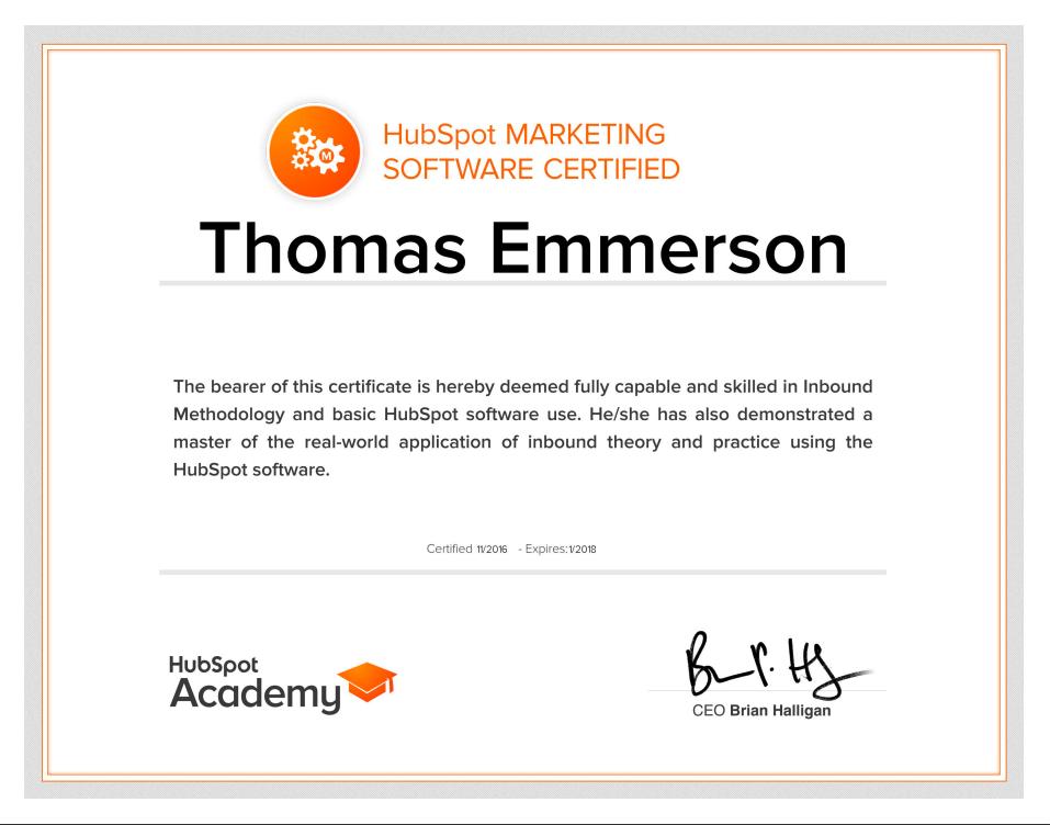 HubSpot software certificate - Thomas Emmerson