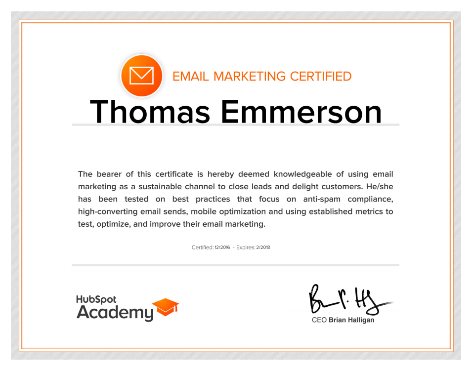 Email marketing certificate - Thomas Emmerson