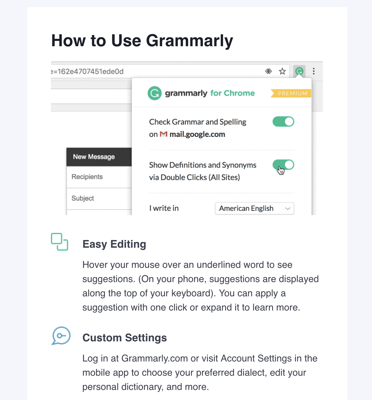 Grammarly browser reminder